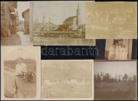 cca 1910 Eltérő helyszíneken és különböző időpontokban készült, vegyes fényképek tétele, 13 db vintage fotó különféle témákról, 12x17 cm és 6x9 cm között
