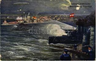 Az Osztrák-Magyar Haditengerészet Velence bombázásánál / Beschießung Venedigs vom K.u.K. Kriegsmarine / WWI Austro-Hungarian Navy at the Bombing of Venice s: F. Höllerer (gyűrődés / crease)