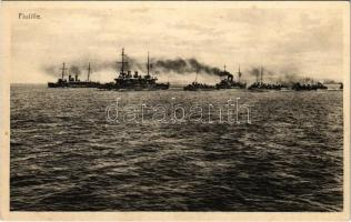 Flottille / WWI Austro-Hungarian Navy, K.u.K. Kriegsmarine flotilla, naval squadron at sea. Litho naval flag on the backside. Verlag F. W. Schrinner, Pola (fl)
