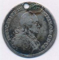 Ausztria 1773. Liechtensteini Vencel tábornagy emlékére jelzetlen Ag emlékérem (25mm/3,82g) T:2- átfúrt Austria 1773. M. Theresia Aug. restitutori rei armamentariae 1773 / I.WENC.S.R.I.P.DE[LIECH]TENSTEIN.O.&C.D.C.R. unmarked Ag medallion (25mm/3,82g) C:VF holed
