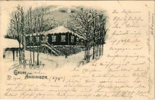 1901 Anninger, Gruss vom Anningerschutzhaus des Vereines der Naturfreunde in Mödling / mountain rest house in winter at night
