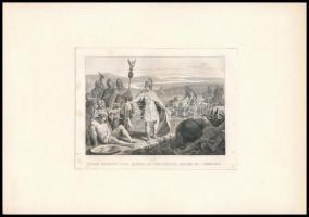 cca 1840 Trajanus ruhájával kötözik a sebesülteket acélmetszet / Traian gives away his clothes to bind the injured. Steel plate engraving. 14x10 cm