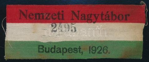 1926 A Cserkész Nagytábor sorszámozott nemzetiszín felvarrója / National jamboree numbered ribbon 10x4 cm