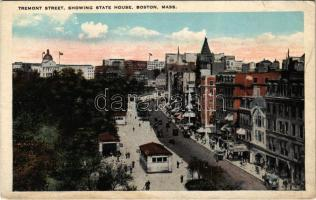 Boston (Massachusetts), Tremont Street, showing State House, automobiles, shops (small tear)