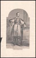 XIX. sz vége: I. Ottó görög király fametszetű képe / Otto I. king of Greece. Woodplate 25x15 cm