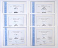 Budapest 1990. Noviki Innovációs és Szolgáltató Részvénytársaság névre szóló részvénye 100.000Ft-ról (6x) sorszámkövetők, szelvényekkel T:I,I-