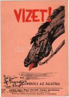 Vizet! Gondolj az állattal. Magyar Állatvédők Országos Egyesületének Állatvédelmi Levelezőlapja / Hungarian animal protection propaganda card