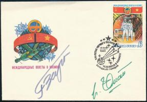Pham Tuân (1947-) vietnámi, Viktor Gorbatko (1934- ) szovjet űrhajós autográf aláírása borítékon alkalmi bélyegzéssel. / Autograph signature of Pham Tuân (1947-) Vietnamese, Victor Gorbatko (1934- ) Soviet astronaut on cover with special cancellation