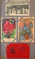 Ódon képeslapalbum régi és modern képeslapokkal: városok és motívumok/ Old and damaged postcard album with pre-1945 and modern postcards: town-views and motives