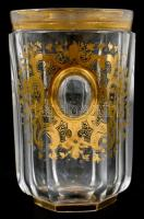 Antik szemes pohár. Kézzel festett, kopásokkal. 10,5 cm / Antique glass with eyes, hand painted, slightly worn. 10,5 cm