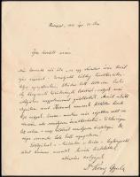1891 Kőnig Gyula (1849-1913) matematikus, egyetemi tanár, saját kezű sorai Gerő Ödön (1863-1939) író, újságírónak, melyben betegsége miatt lemondja részvételét a Gerő által szervezett Ibsen látogatáson