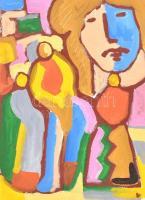 Brasnyó István (?-?): Női portré figurákkal Akril, farost, jelzett, hátoldalán autográf felirattal, fa keretben, 40x30 cm
