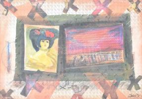 Üvegezett fa keret, Szécsi Katalin Zsuzsanna (1955-) festőművész szignált nyomatával, belső méret: 42x60 cm