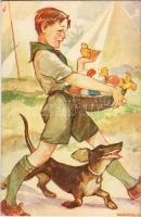 Cserkész művészlap. Márton L.-féle Cserkészlevelezőlapok Kiadóhivatala / Hungarian boy scout art postcard, Easter greeting s: Márton L. (EK)