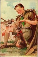 Cserkész művészlap. Márton L.-féle Cserkészlevelezőlapok Kiadóhivatala / Hungarian boy scout art postcard s: Márton L. (EK)