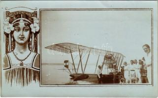 1914 Crikvenica, Cirkvenica; Homok-fürdő, osztrák-magyar haditengerészet hidroplánja zászlóval / K.u.K. Kriegsmarine Wasserflugzeug / WWI Austro-Hungarian Navy seaplane. photo