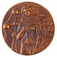 Belgium DN Női akt és az Atomium épülete öntött Br érem (77mm) T:1- Belgium ND Female act and the Atomium cast Br medallion (77mm) C:AU