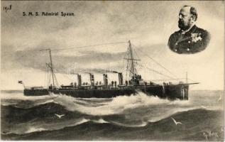 SMS Admiral Spaun az Osztrák-Magyar Haditengerészet gyorscirkálója / K.u.K. Kriegsmarine / WWI Austro-Hungarian Navy light cruiser SMS Admiral Spaun. G. Fano Pola 1908-09 17.