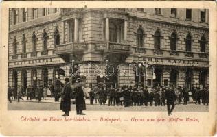 1906 Budapest VII. Emke Kávéház a Rákóczi úton, Bonyhárd M. fogorvosi intézete valószínű az orvossal az erkélyen (EK)