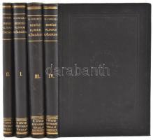 Verebély Tibor: Sebészklinikai előadások. I-IV. köt. Magyar Orvosi Könyvkiadó Társulat CLXXIII., CXXX., CXXXII., CXXXVII. köt. Bp., 1930- 1934, Magyar Orvosi Könyvkiadó Társulat, 8+387 p.+VIII t.;+6+306 p.+VII t.; 4+470 p.+IV t.;4+445+1+1 p.+II t. Rengeteg szövegközti illusztrációval. Kiadói aranyozott egészvászon-kötés, Corvina-kötés, egészen apró kopásnyomokkal a borítókon, egy lapon szakadás, három szennylapon hiánnyal, de alapvetően jó állapotban.