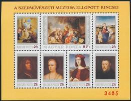 1984 Szépművészeti múzeum ellopott kincsei ajándék blokk (25.000)