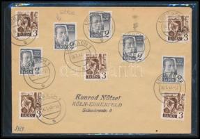 Baden 1948 Futott levél rajta 2Pf bélyeg lemezhibával (folt a homlokon)
