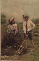 Glückselige Tage / Children folklore art postcard, romantic. Meissner & Buch Künstler-Postkarten Serie 1521. litho (EK)