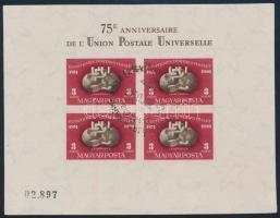 1950 Jó minőségű vágott UPU blokk elsőnapi bélyegzéssel (160.000+)