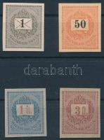 1888-1889 1kr 27I., 50kr, 1Ft, 3Ft fogaztalan bélyegek MIND ELEKTRO JEGYEKKEL, karton papíron. Ritka kínálat!!
