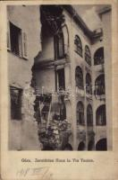 1918 Gorizia, Görz, Gorica; Zerstörtes Haus in Via Teatro / WWI destroyed house, ruins (EK)