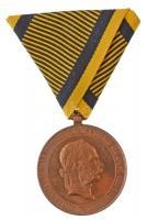 1873. Hadiérem aranyozott Br katonai érdemérem eredeti mellszalaggal T:1- Hungary 1873. Military Medal gilded Br medal with original ribbon C:AU NMK 231.