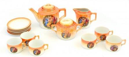 Zsolnay teázó szett, kannával, kiöntővel, cukortartóval, 6 db csészével és hozzá tartozó aljakkal, matricás, jelzett, kopásokkal, lepattanással, egyik csészén repedéssel, csésze: 5,5 cm, cukortartó: 13 cm, kiöntő: 12 cm, kanna: 16,5 cm, alj d: 15,5cm