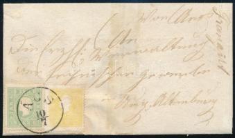 1860 2kr + 3kr levélen ÁCS - Ung. Altenburg (levélpapír megerősítve / strengthened) (170.000)