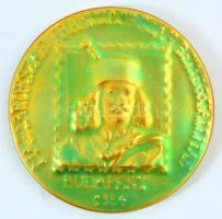Magyarország-Franciaország Bélyegkiállítás - Budapes - 1984 Zsolnay eozinmázas emlékérem, jelzett, apró kopásokkal, d: 10,5 cm