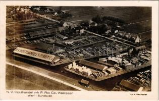 Westzaan, N. V. Houthandel v/h P. Rot Cz. Werf Sundsvall / timber yard, aerial view