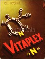 Chinoin Vitaplex N nicotinsav (antipellagrás vitamin) értágító reklámlapja / Hungarian medicine advertising card (13 cm x 17 cm), vasodilator (EB)