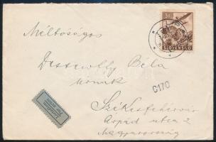 1944 Légi levél Székesfehérvárra, cenzúrázva LIPIANY
