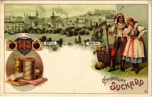 Brno, Brünn (Morova, Mähren); Chocolat Suchard advertisement. Folklore, Art Nouveau, litho (EK)
