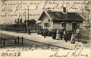 1906 Balatonlelle, Lelle fürdő telep, vasúti megállóhely, vasútállomás. Wollák József kiadása, Balázsovich Gyula fényképész