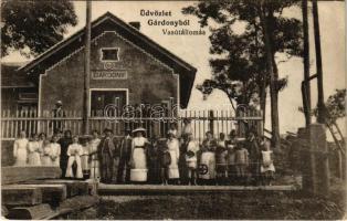 1914 Gárdony, vasútállomás, Déli Vasúti 165-ös számú őrház, csoportkép, iroda