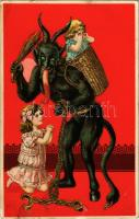 1913 Krampus with little girls. Decorated litho