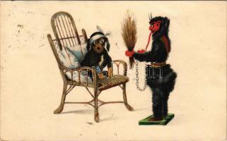 1910 Krampus with dog. H. & L.