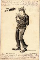 Wenn die Borsa saust... / Quando soffia la bora / K.u.K. Kriegsmarine Matrose / Austro-Hungarian Navy mariner humour art postcard, cigarette. G. Fano Pola 1910-11. 1636. s: Ed. Dworak