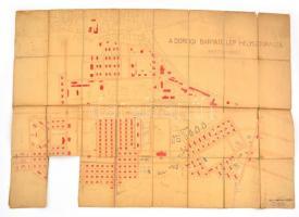1924 A dorogi bányatelep helyszínrajza, vászonra kasírozva, szakadással, 56×80 cm