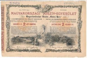 Budapest 1888. Magyarországi Jószív-Egyesület sorsjegykölcsön 2Ft-ról, szárazpecséttel, bélyegzéssel T:III