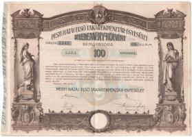 Budapest 1906. Pesti Hazai Első Takarékpénztár-Egyesület 100K-ról szóló nyereménykötvénye, szárazpecséttel T:III