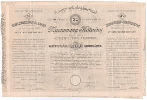 Budapest 1894. Magyar Jelzálog Hitelbank nyeremény-kötvénye 200K-ról szárazpecséttel és bélyegzéssel T:III,III- rest.