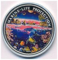Palau 1993. 5$ Ag Tengeri élet védelme - Neptun kagylóban, lovak, delfin multicolor T:1- (PP) Palau 1993. 5 Dollars Ag Marine Life Protection - Neptune in shell, horses, dolphin multicolor C:AU (PP) Krause KM#4