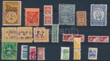1924-1950 24 db klf. árubélyeg, tagsági bélyeg, gyermekposta stecklapon