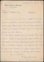 1911 Apáthy István (1863-1922) magyar természettudós, zoológus autográf levele Gerő Ödönnek (1863-1939), aki ekkoriban a Tolnai Világlexikon szerkesztőjeként dolgozott. Elfoglaltságaira hivatkozva elutasítja a lexikon megírására való felkérést, de hozzáfűzi, hogy (...) a vállalkozáshoz hazafias szívből sok sikert kívánok. Egy beírt oldal, Eden Hotel Molaro, Capri fejléces papírján.